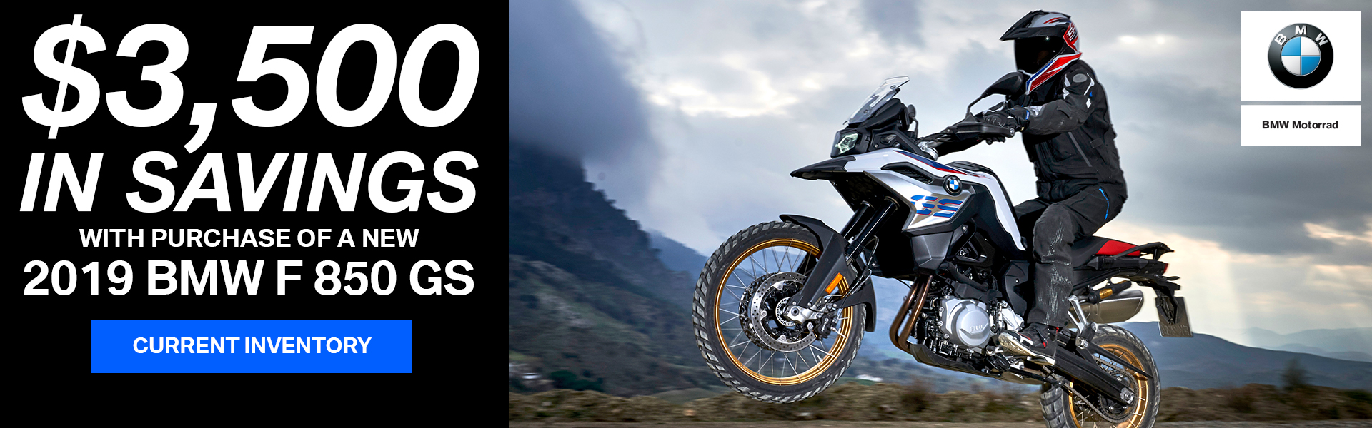 $3,500 in Savings with 2019 BMW F850 GS