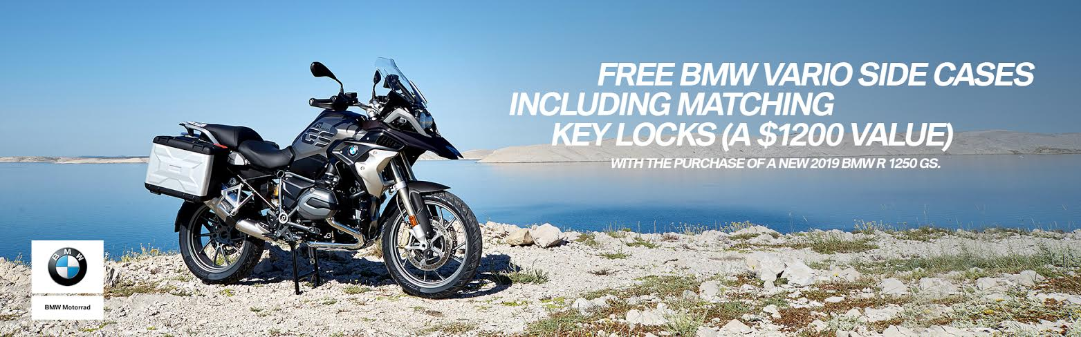 Free BMW Vario Side Cases including matching key locks (a $1200 value) With purchase of a new 2019 BMW R 1250 GS
